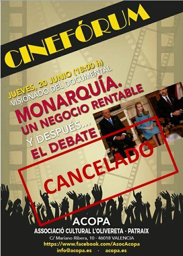 Cineforum cancelado