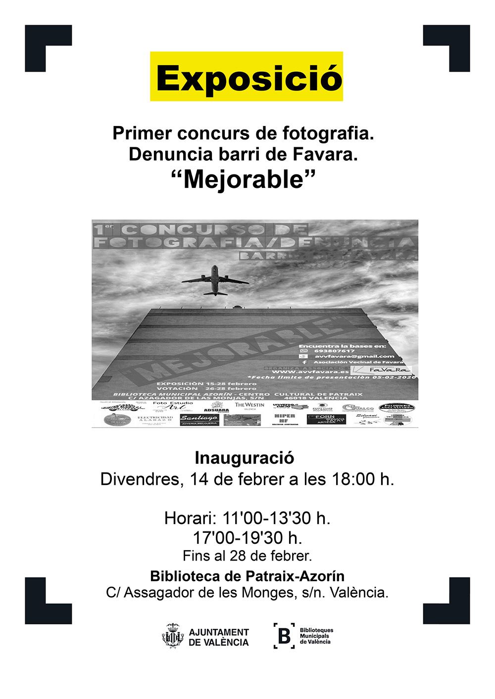 Cartel de la exposición de fotografía organizada por la AVV Favara. Puedes verla del 14 al 28 de febrero en la biblioteca del complejo polideportivo de Patraix C/Assagador de les Monges s/n Valencia.