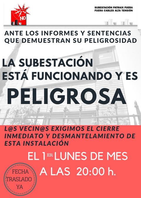 Cartel que anuncia la concentración de vecinos frente a  las puertas de la subestación todos los primeros lunes de cada mes a las 20h.