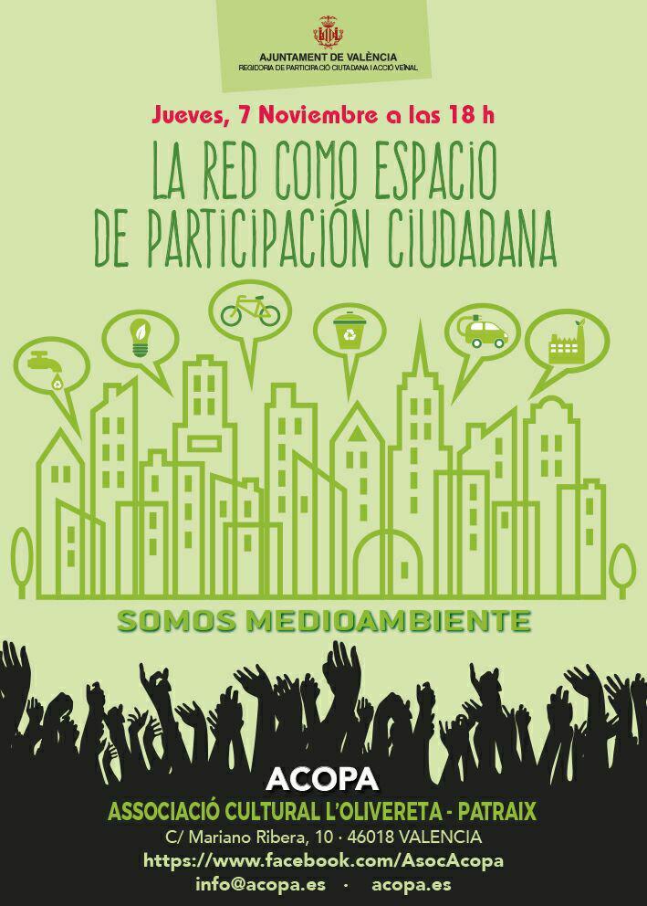 Cartel convocando a la primera reunión del proyecto Somos Medioambiente. El acto se celebra el día 7 de noviembre a las 18h y tiene como título