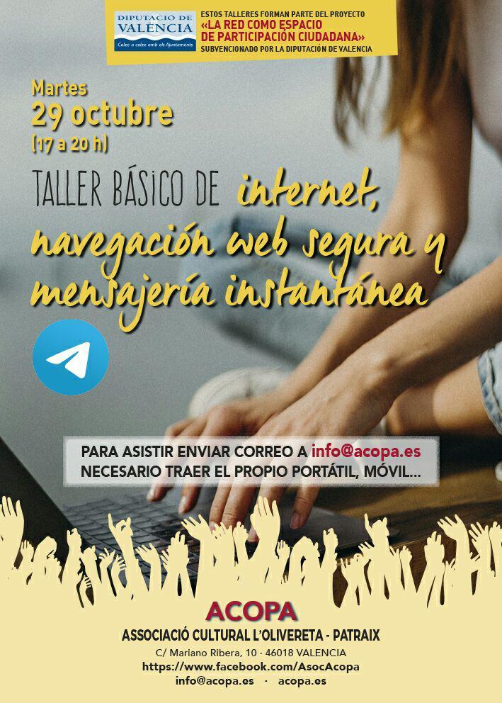 Cartel del taller básico de navegación web y mensajería instantanea. Martes 29 de octubre en Acopa.