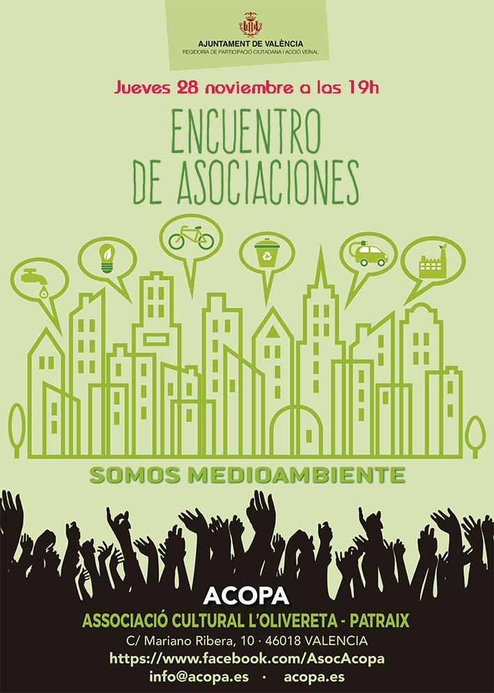 Cartel anunciador del encuentro de asociaciones para el jueves 28 de noviembre de 2019 a las 19h en el local de ACOPA, calle Mariano Ribera, 10.