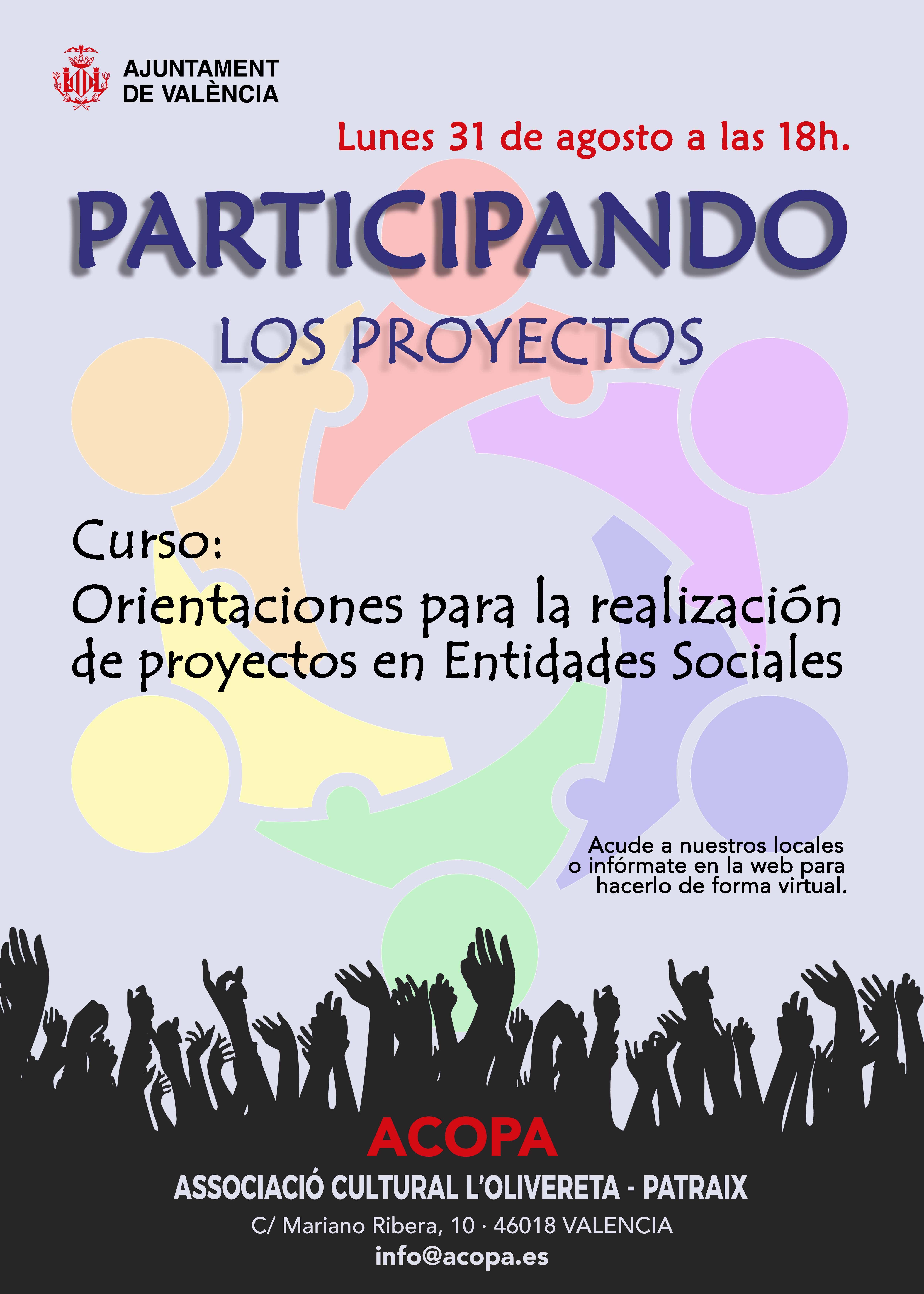 Cartel de curso sobre orientación para la realización de proyectos.