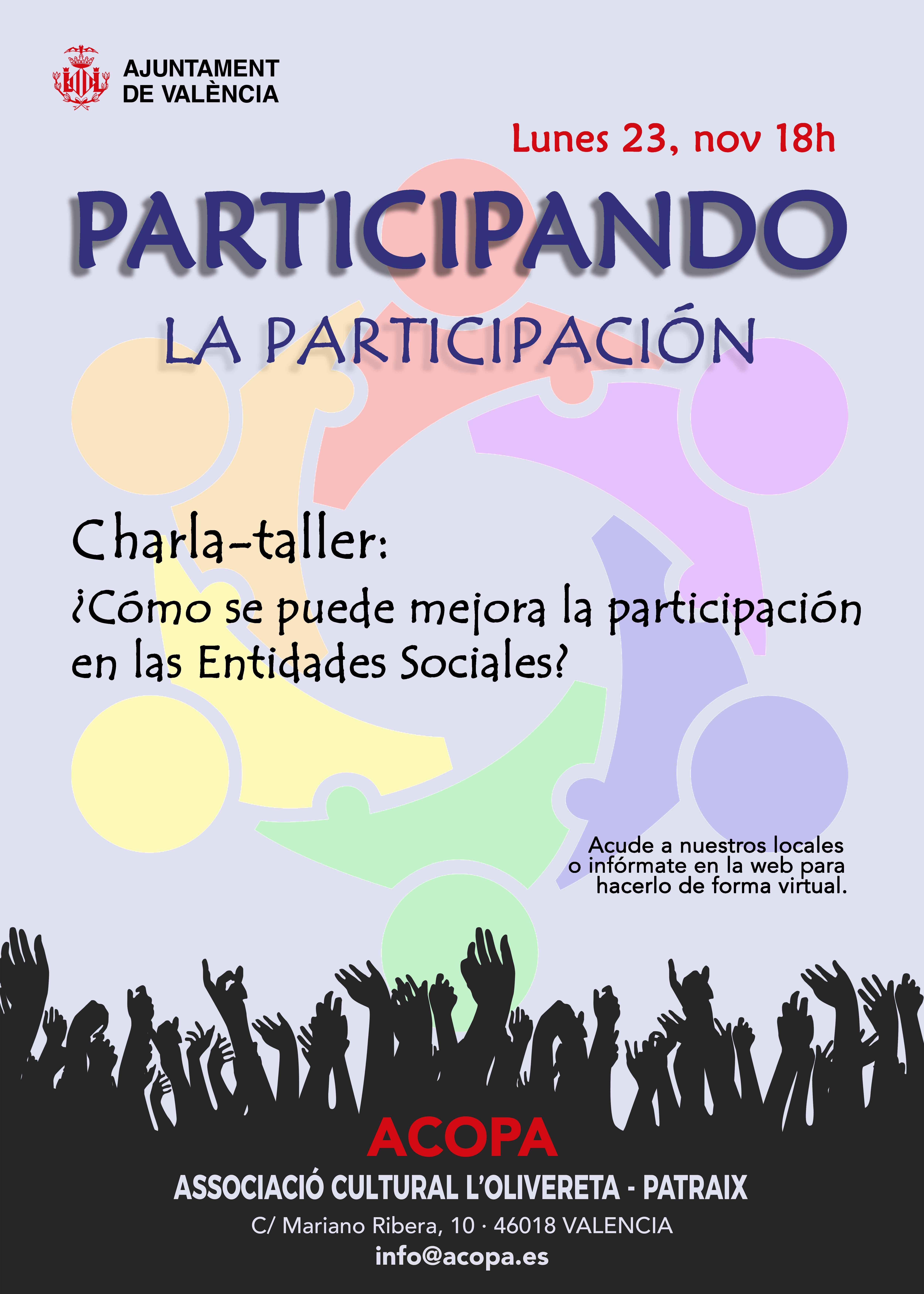 Cartel de la charla-taller sobre participación ¿cómo se puede mejorar la participación en las entidades Sociales?