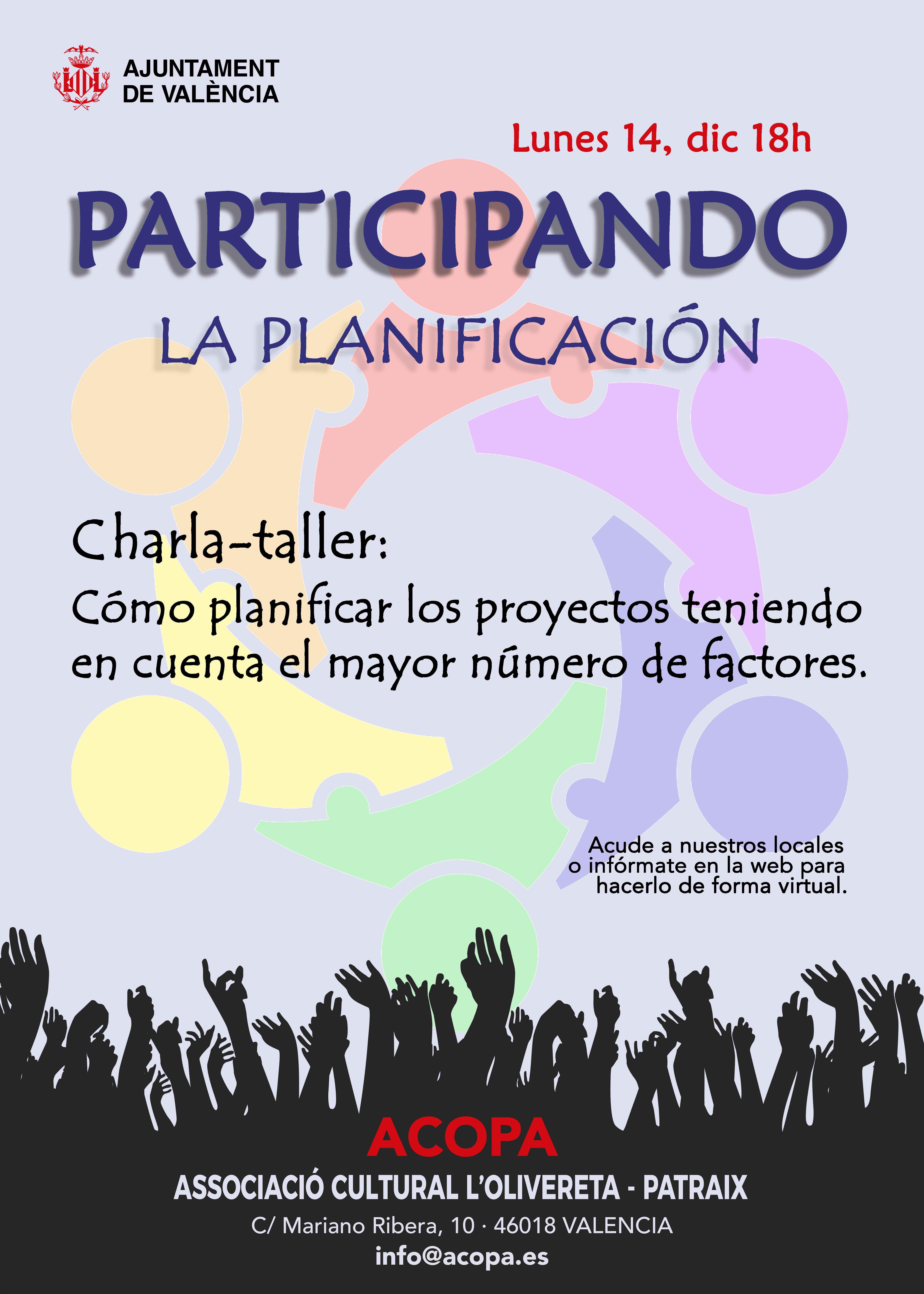 Cartel de la charla-taller sobre planificación. para impartir el 14 de diciembre de 2020